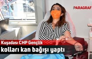Kuşadası CHP Gençlik kolları kan bağışı yaptı
