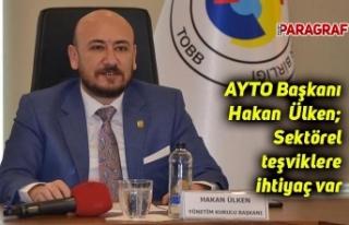 AYTO Başkanı Ülken; Sektörel teşvik uygulamasına...