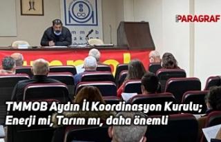 TMMOB Aydın İl Koordinasyon Kurulu; Enerji mi, Tarım...
