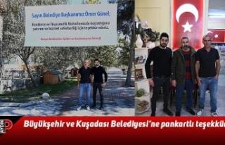Büyükşehir ve Kuşadası Belediyesi'ne pankartlı...