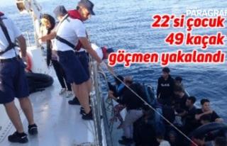 22'si çocuk 49 kaçak göçmen yakalandı