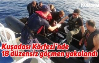 Kuşadası Körfezi'nde 18 düzensiz göçmen yakalandı