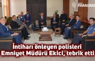 İntiharı önleyen polisleri Emniyet Müdürü Ekici,...