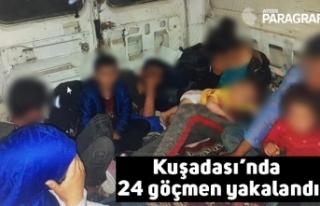 Kuşadası'nda 24 göçmen yakalandı