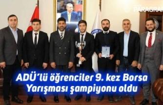 ADÜ'lü öğrenciler 9. kez Borsa Yarışması şampiyonu oldu