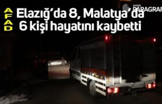 Elazığ'da 8, Malatya'da 6 kişi hayatını kaybetti